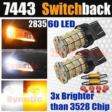 2x 7443 Type 1 Switchback White Amber Yellow 2835 SMD LED Turn Signal +Resistors