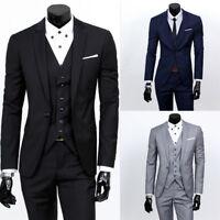 Mens Formal 3Piece Suit Blazer Jacket Tux Vest Waistcoat Trousers for Wedding UK