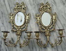 Antique French 19thC Bronze Cherub Putti Wall Sconces Oval Mirror Candelabras