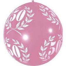 """1 ballons de baudruche """"50 ans"""" rose 80 cm laurier decoration anniversaire fetes"""