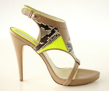 MATTHEW WILLIAMSON shoe nude leather snake green neon patent 39 9 BNIB
