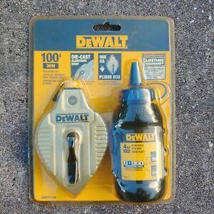 New DEWALT Die Cast Metal Plumb Bob Chalk Line Reel Kit with Blue Chalk 100' 30M