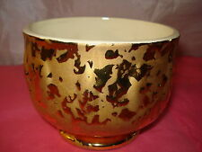 FOOTED PORCELAIN BOWL 24K GOLD GLAZED 5 INCHES IN DIAMETER MADE IN USA RARE!
