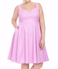 Cherry Velvet Cotton Fit And Flare Doris Dress In Rainbow Sprinkles Size M