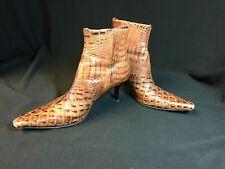 """Donald J Pilner Women's Side Zip Booties Brown """"Crocodile"""" Leather Italy Sz 6.5"""
