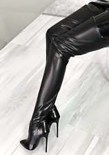 1969 ITALY OVER KNEE THIGH HIGH HEELS Sexy PY3 Designer Vintage LEATHER BOOTS 41