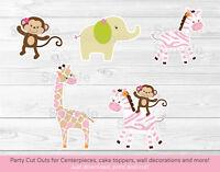 Safari Girl Jungle Animals Party Cutouts Decorations Printable