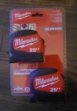 2 PACK Milwaukee 25 ft Wide Blade Tape Measure Anti Tear Lanyard
