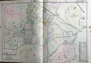 1916 MONTGOMERY COUNTY PENNSYLVANIA CURTIS COUNTRY CLUB LAWNDALE STA ATLAS MAP