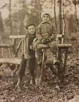 Vintage 1930s Photo of Little Girl & Boy Children Fall Fashion Long Island Woods