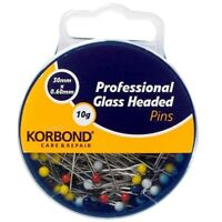 Korbond Professional Glass Headed Pins 10g Care & Repair Sewing New 190008
