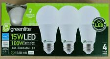 4 Pack 15W Greenlite LED 100 Watt Equivalent A Type Light Bulbs Non-Dimmable