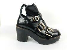 Topshop Black Leather Block Heel Platform Ankle Boots Uk 4 Eu 37