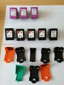8 Original HP Canon Drucker-Patronen leer 303 6x XL 3x bunt tri-color 5x schwarz