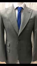 Super 150 Cerruti grey shark skin wool suit/wide peak lapel/ticket pocket