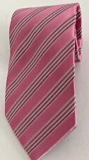 Dan Smith Mens Tie Necktie Pink Stripe Microfiber Handmade Business Wedding