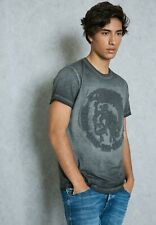 New Diesel Mens Tshirt XL Charcoal Cotton ONLY THE BRAVE Embossed Logo