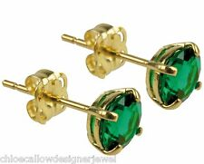 1x Pair of 9ct Yellow Gold 5mm Green Emerald Set Ear Studs Earrings + gift bag