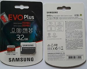SAMSUNG EVO Plus 32GB Micro SDHC 95MB SHIPS FAST FROM CALIFORNIA, USA