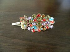 Lovely VInTage Crystal Peacock Hair Clip-Colorful