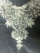 Bridal appliqué neckline hand embroidered with pearls & rhinestone