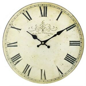 Vintage Style Cafe Des Marguerite Rustic Shabby Chic 34cm Large Wall Clock