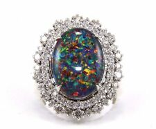 Oval Cabana Blue Fire Opal Solitaire Ring w/Diamond Halo 14k White Gold 8.47Ct