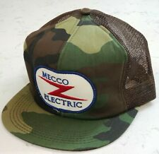 Vintage MECCO ELECTRIC Snapback Trucker Hat Camo Mesh Patch Cap K Products USA