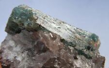 Gw- BLUE-GREEN BERYL var. AQUAMARINE on Quartz from MADAGASCAR