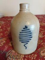 Antique Stoneware:  1G NY Jug w/ Cobalt 🌲, N.A. White & Son, Utica, c.1875
