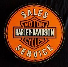 VINTAGE HARLEY-DAVIDSON MOTORCYCLES PARTS / SERVICE PORCELAIN ADVERTISING SIGN