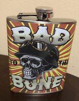 Bad To The Bone 8 Oz. Stainless Steel Flask - Skull W/ German Motorcycle Helmet