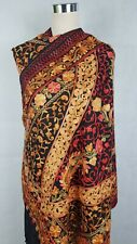 Pashmina Kashmiri Shawl,Floral Embroidery, Black Shawl, Stole, Scarf
