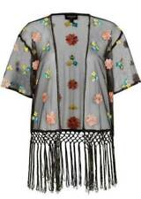 TOPSHOP BLACK FLORAL EMBROIDERED FRINGED KIMONO S/M  8/10/12 - £45