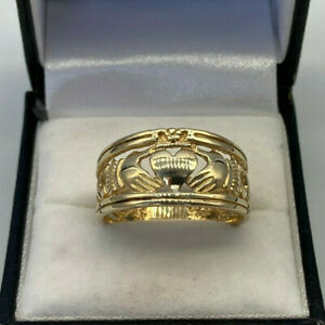 9ct Gold Hallmarked Celtic Style Claddagh Ring.  Goldmine Jewellers.