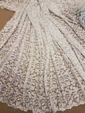 """1M BRIDAL WHITE CRYSTAL  SCALLOPED LACE EMBRIOUDED FABRIC 45"""" WIDE"""