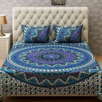 Mandala Queen Size Multi Color Bed Sheet Cover Bedspread Cotton Bedding Set
