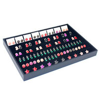 120 Hole Velvet Earrings Jewelry Display Tray Case Box Holder Organizer Storage