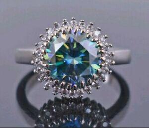 3,90 CTS Blauer Diamant-Ring, 925 Silber, AAA, Akzente, Zertifikat
