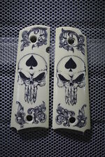 "New Design! Colt 1911 Hand Scrimshawed "" The Punisher with Ace Of Spades "" NICE!"
