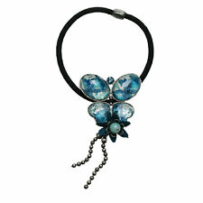 Ponytail Holder Blue Butterfly Lace Flower Amazonite Antique Style Resin