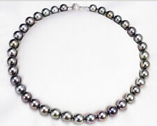 """stunning 18""""9-10mmperfect round tahitian black red pearl necklace  silver"""