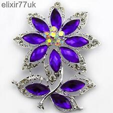 """Nuevo, 2,8 """"Grande Plata Flor Hojas Broche púrpura Diamante Cristal abordar Regalo del Reino Unido"""