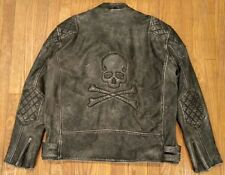 Custom Concealed Carry Vintage Skull and Crossbones Leather Motorcycle Jacket