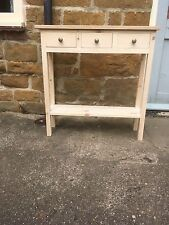 H80 W80 D25cm BESPOKE UNTREATED CONSOLE HALL TABLE 3 DRAWER 1 SHELF REAL OAK TOP