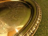 12 1/4 INCH SILVER PLATED SERVING TRAY Etched Design FB RODGERS
