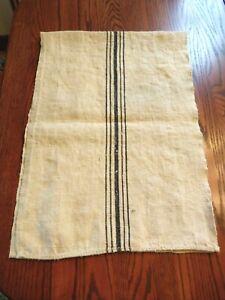 """Vtg Antique Grain Sack Blue Stripe European Feed Bag Runner 18"""" x 52"""" authentic"""