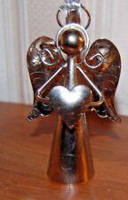 """Silvertone Metal 4 1/2"""" HEART Angel Figurine Ornament Bell"""