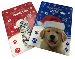Set Of 12x Kitten & Puppy Christmas Cards Cat / Dog -  Kids Cards ?