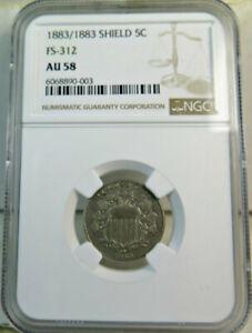 1883 shield nickel NGC AU58 *FS 312 1883/1883* BR